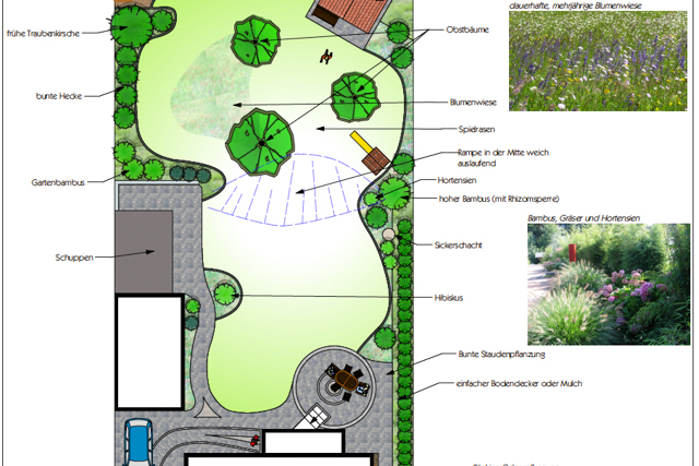 Garten mit Stufe und verschiedenen Bereichen